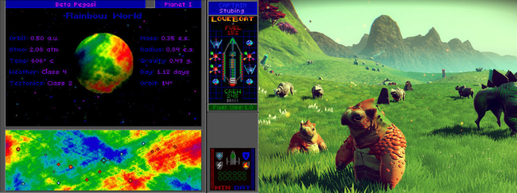 Star Control II procedurally generated rainbow planet vs. No Man's Sky terrain and lifeforms